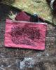 Okawara Bird, Hand Dyed & Printed Organic Canvas Zip Pouch, Eco Makeup Bag, Travel Organiser, Art & Craft Storage Bag