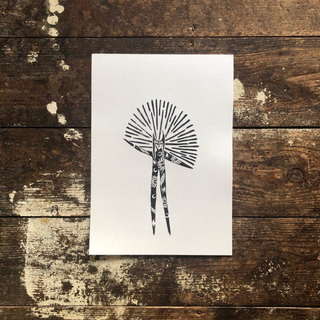 The Hope Faerie / Hand Printed Lino Cut / Block Print / Art Gift /