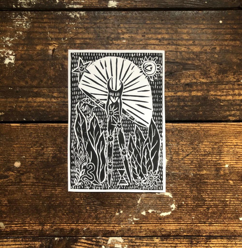 The Hope Dancer - Hand Printed Lino Cut Print / Block Print / Recycled Art Paper