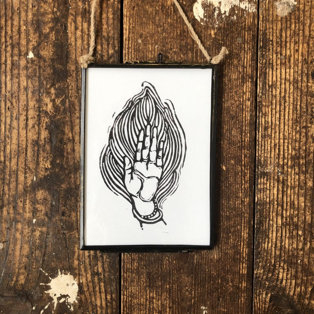 Hand of Fire Print - Vintage Style Frame Lino Cut Print