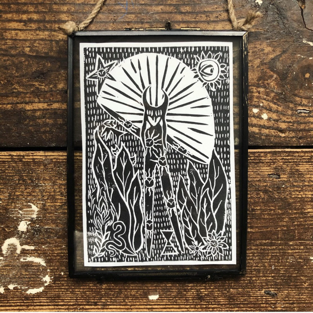 The Hope Dancer - Vintage Style Glass Frame / Hand Printed Lino Cut Block Print