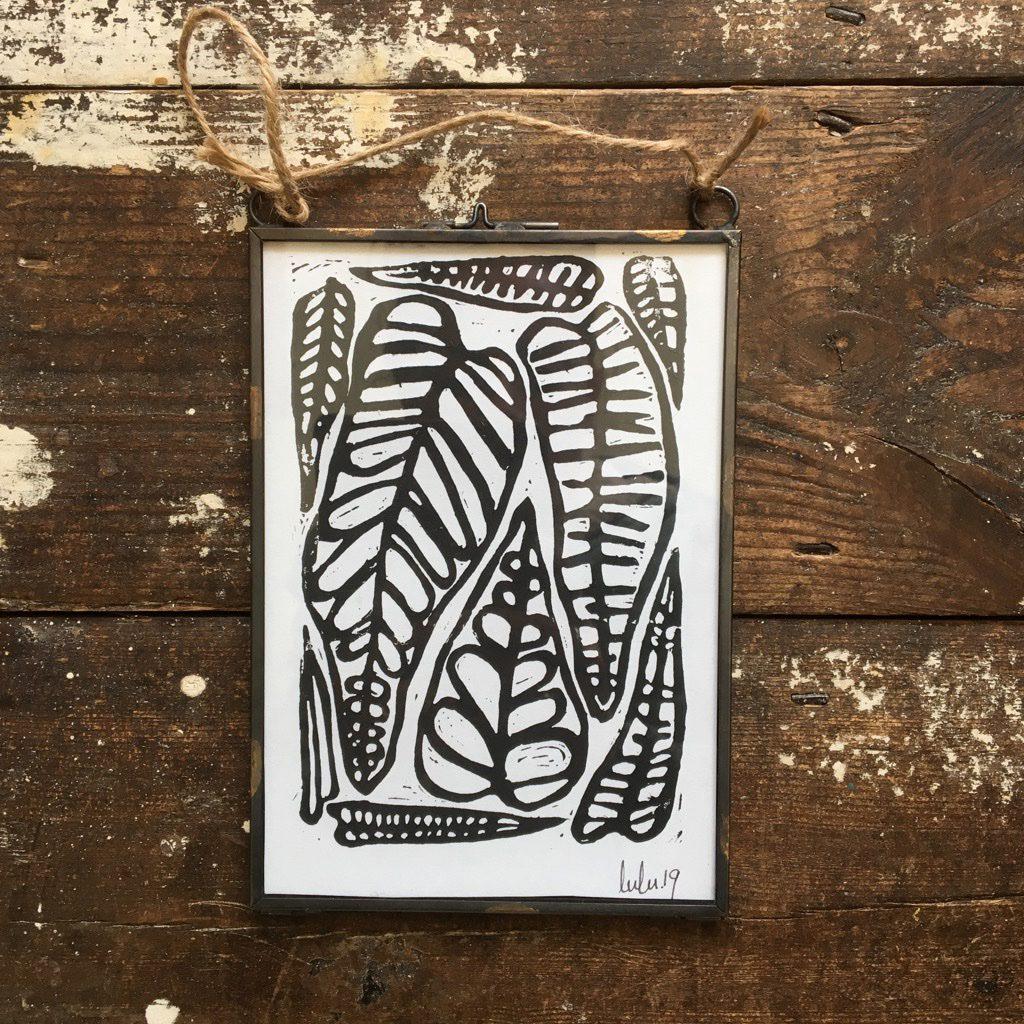 Leaf Puzzle - Framed A5 Lino Cut Print