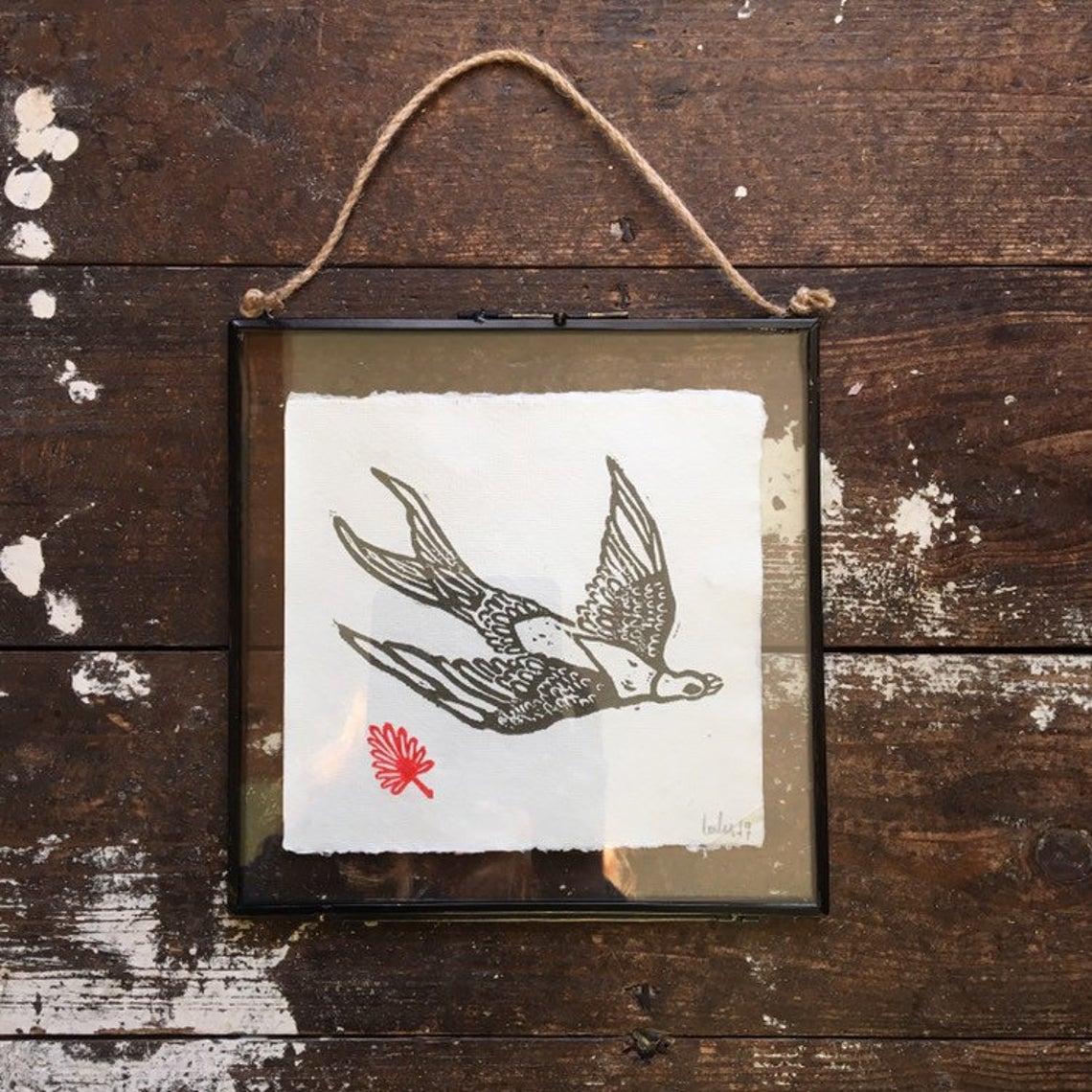 Bird in Flight - Framed Hand Printed Lino Print in Vintage Metal Glass Frame