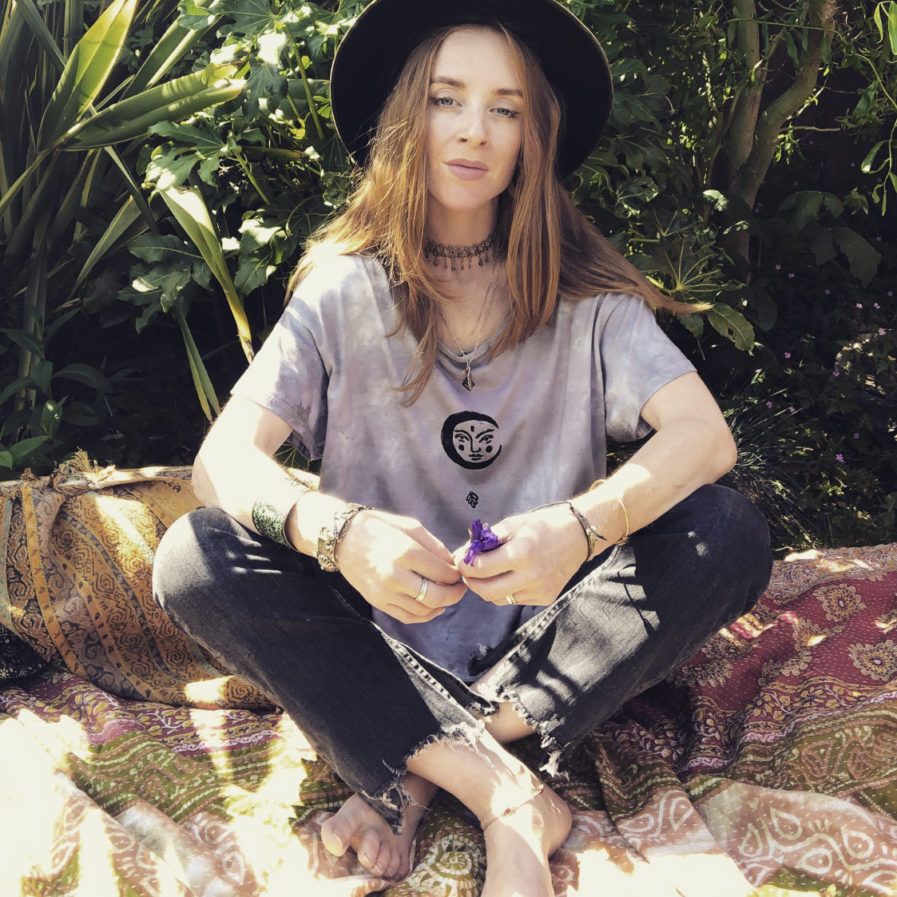 Psychedelic Moon - Dip Dyed  & Hand Printed Vegan & Ethical T-Shirt