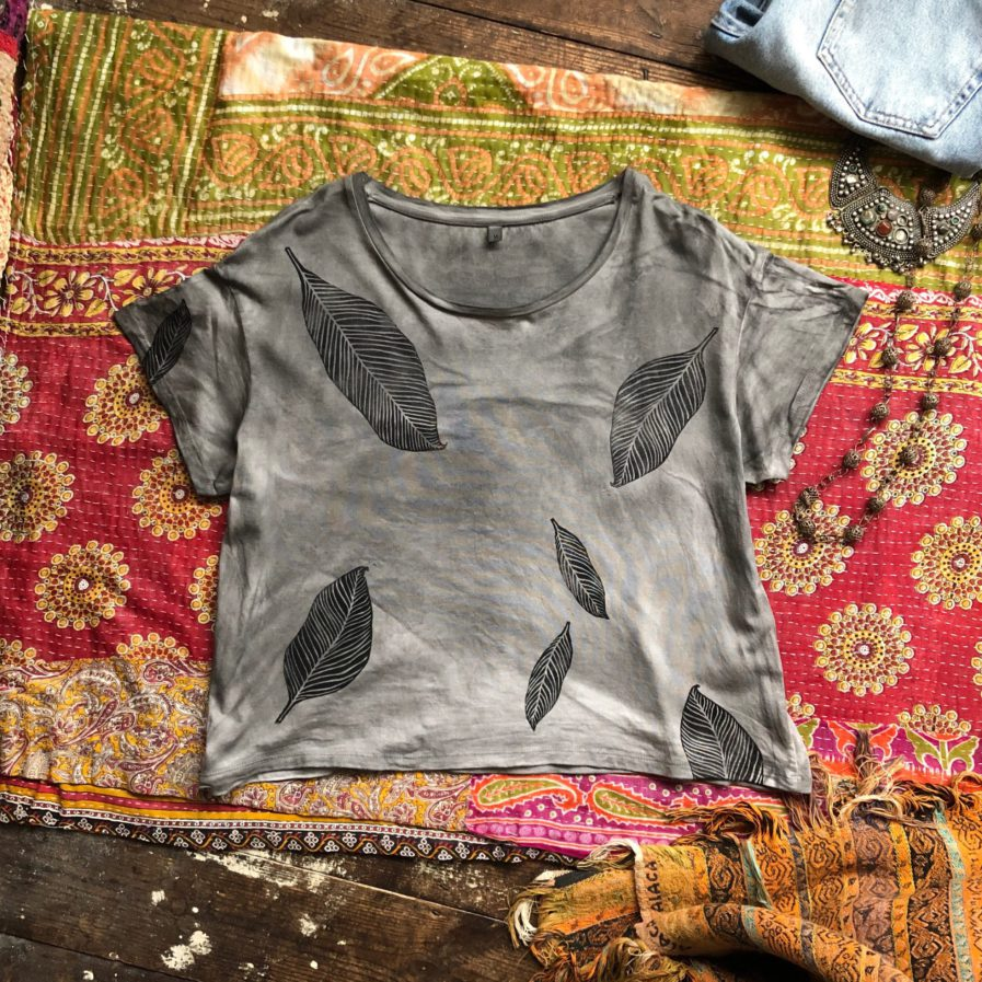 Cloud Forest - Boxy Fit Ethical Dip-Dyed & Hand Printed T-Shirt