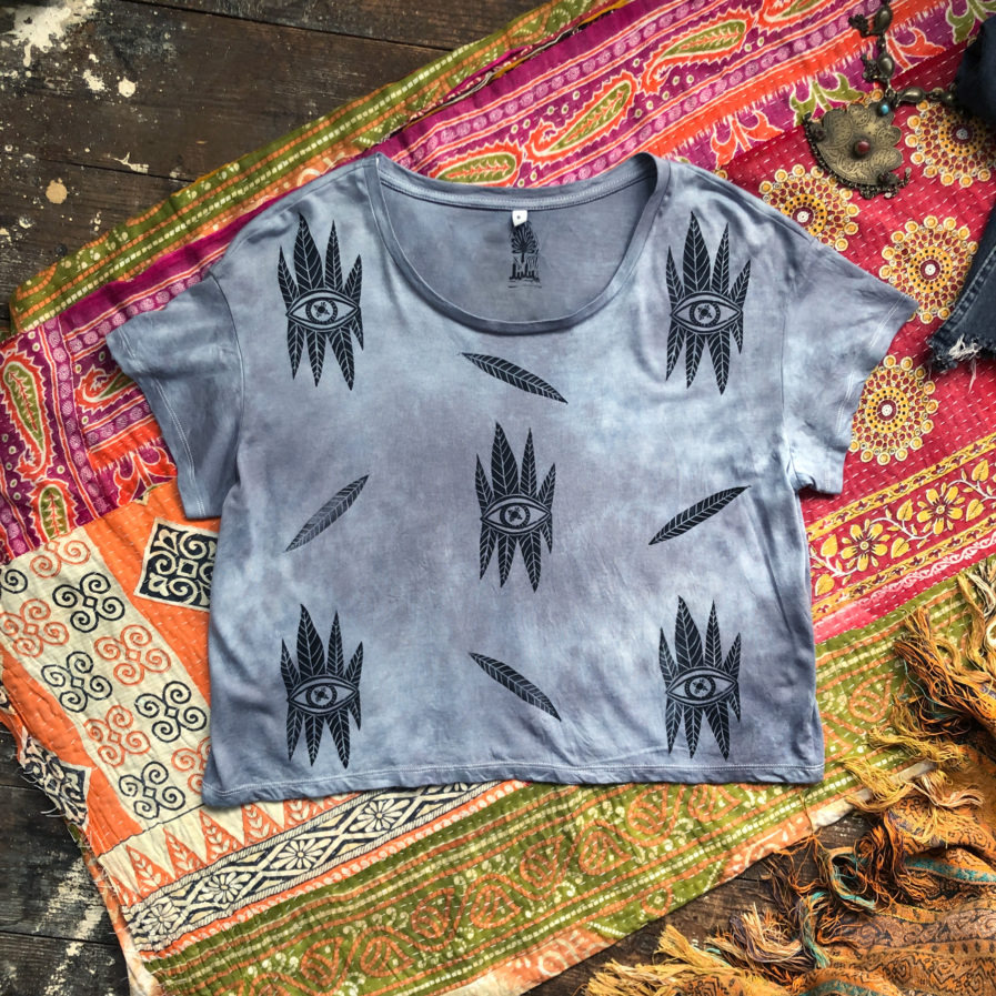 Seeker Storm - Boxy Fit Hand Dyed & Printed - Vegan & Ethical T-Shirt