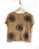 Solstice - Ochre Boxy Fit Dip Dyed & Hand Printed Ethically Made Vegan T-Shirt