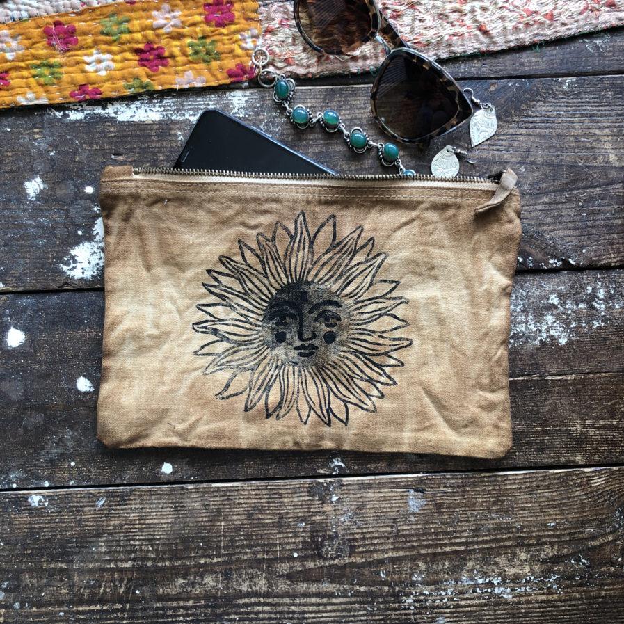 Solstice Seeker - Bronze Canvas Pouch Hand Dyed & Printed Sun Design Organic Cotton Bag