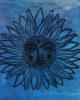 Solstice Seeker - Ultramarine Blue Canvas Pouch Hand Dyed & Printed Sun Design Organic Cotton Bag