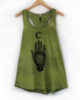 Nomad Long Line Tank - Avo Green Ethically Made Hand Dyed & Block Printed