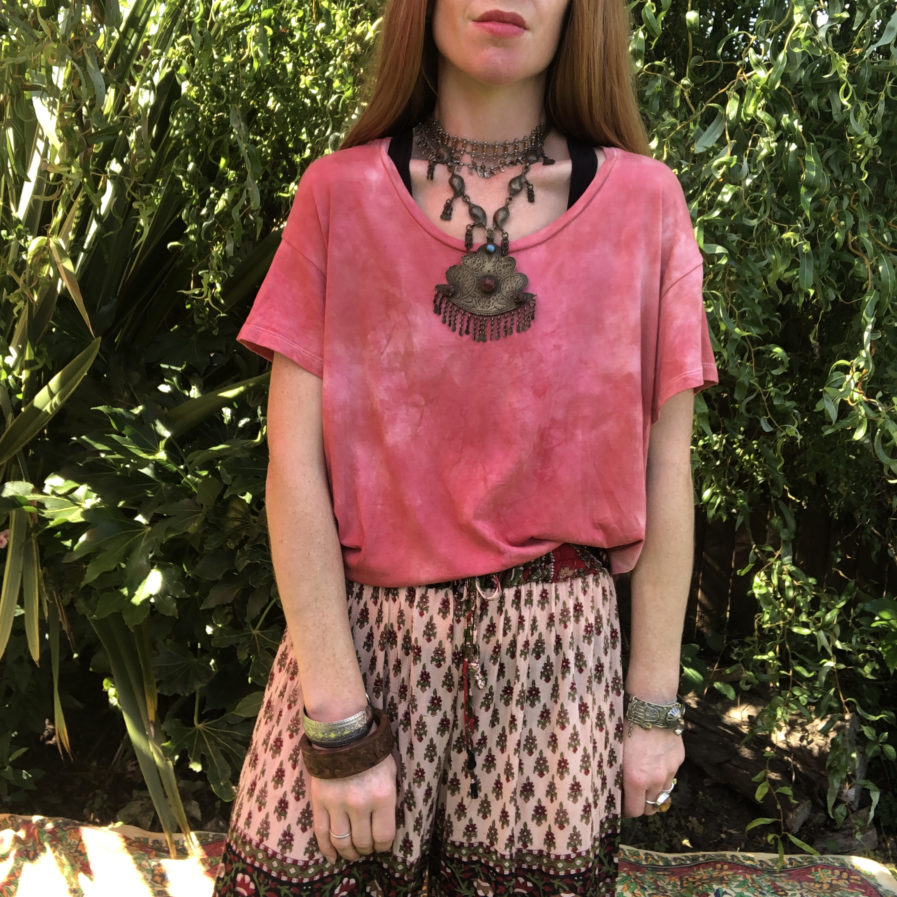 Red Clay Hand Dyed Boxy Fit T-Shirt - Ethically Made Fair Trade Loose Fit Bohemian Hippie Tee