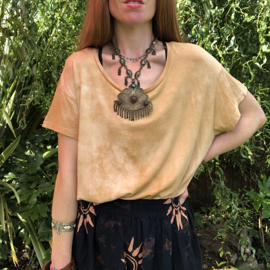 Ochre Earth Hand Dyed Boxy Fit Ethical T-Shirt - Fair Trade Loose Fit Bohemian Top
