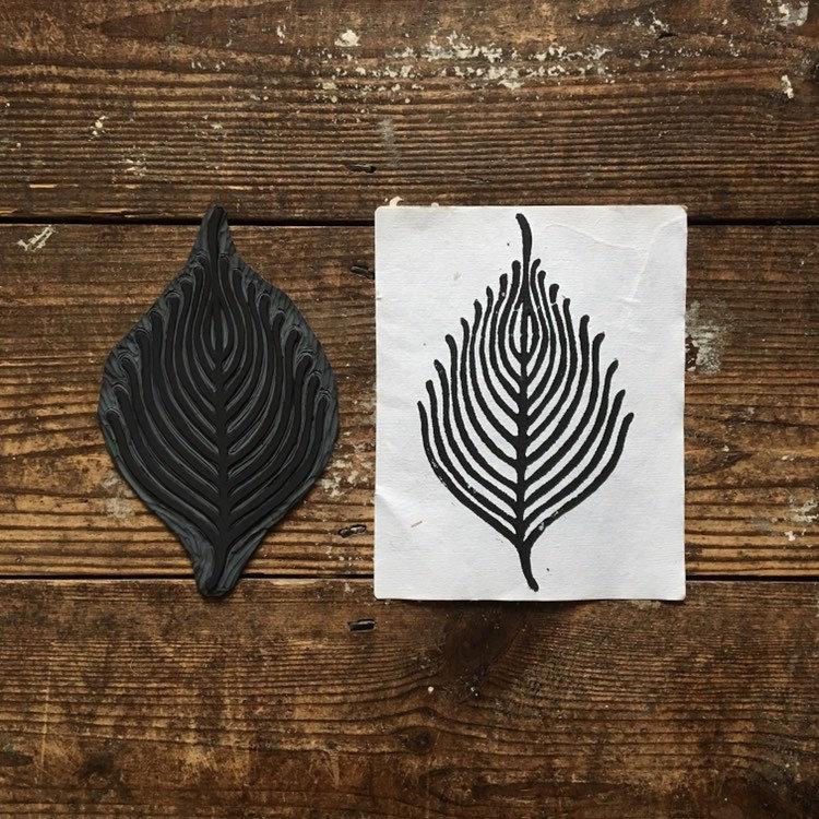 Skeleton Leaf - Lino Cut Print
