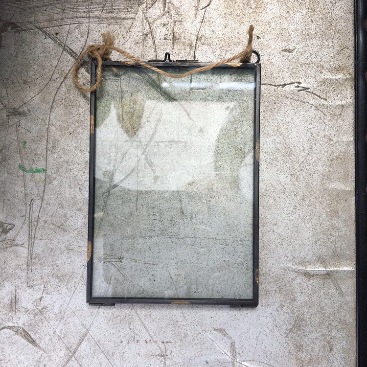Skeleton Leaf - Vintage Style Frame Lino Cut Print