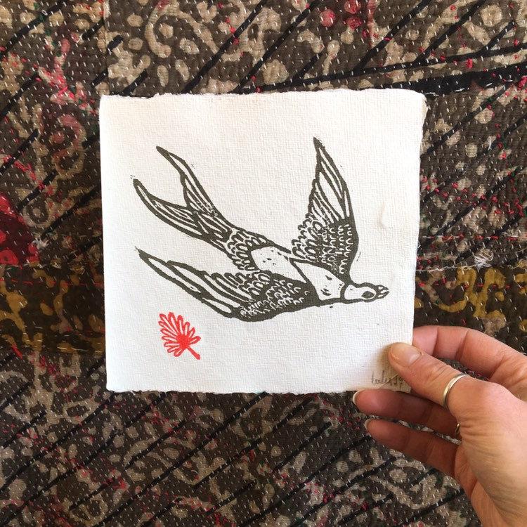 Bird in Flight - Hand Printed Lino Block Print