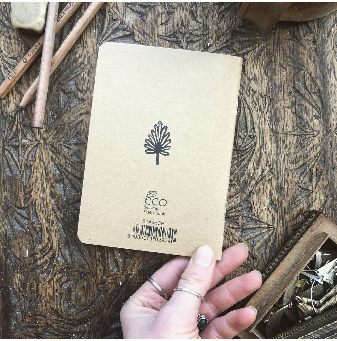 Leaf Print - Lino Cut Hand Printed Notebook